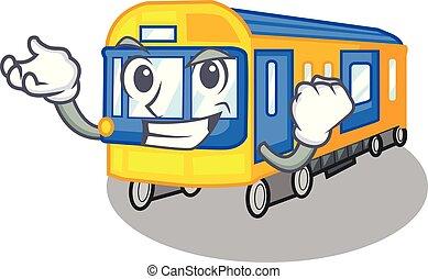 sucedido, trem metrô, brinquedos, forma, mascote