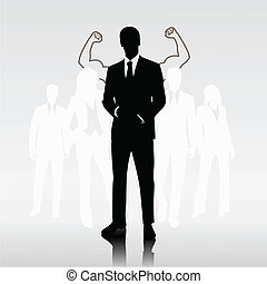 Sucessful team leader - Successful man team leader in front...