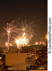 Sucessfull new year fireworks celebration - Beautiful new...