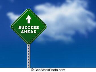 sucesso, à frente, sinal estrada