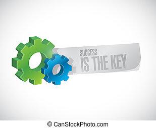 sucesso, é, a, tecla, engrenagem, industrial, sinal, conceito