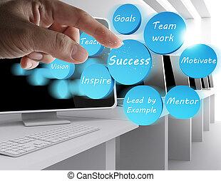 sucesso, ícone, diagrama