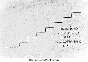 sucesso, alcance, desenho, conceitual, passos, representando