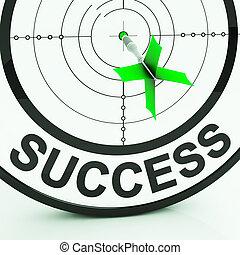 sucesso, alvo, mostra, realização, estratégia, e, ganhar