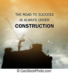 sucesso, always, construção, citação, :, estrada