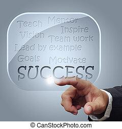 sucesso, carta fluxo, em, vidro, bolhas