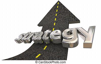 sucesso, cima, ilustração, missão, plano, seta, estratégia, estrada, 3d