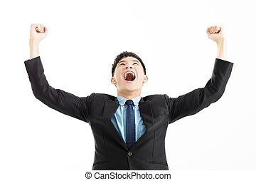 sucesso, cima, mão, homem negócios, excitado, celebração