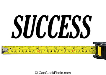 sucesso, conceito, com, medida fita