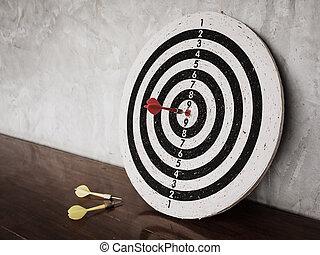 sucesso, conceito, dardos, golpe, alvo, ligado, dartboard