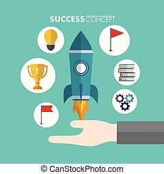 sucesso, conceito, vencedor, cartão