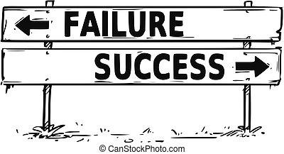 sucesso, decisão, sinal, fracasso, bloco, seta, desenho, ou, estrada