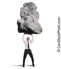 sucesso, e, determinação, em, difícil, negócio