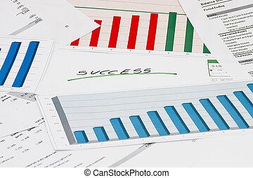 sucesso financeiro, com, gráficos