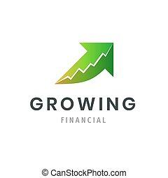 sucesso financeiro, negócio, gráfico, companhia, modernos, símbolo., crescendo, logo., template., ícone