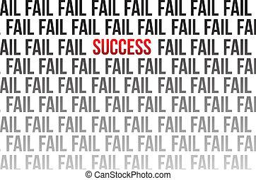 sucesso, fracasso, ao redor, ilustração