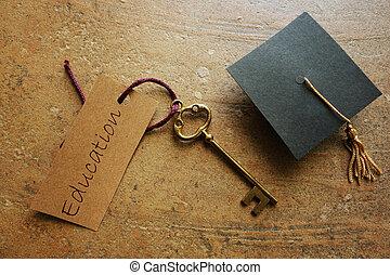 sucesso, graduação, tecla