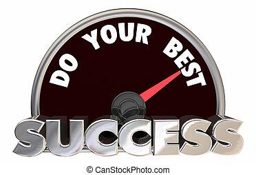 sucesso, ilustração, suceder, velocímetro, seu, melhor, 3d