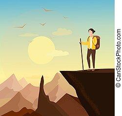 sucesso, jovem, escalado, concept., mulher, montanha