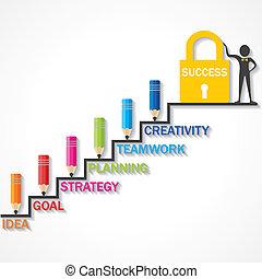 sucesso, lápis, escalar, cima, degrau