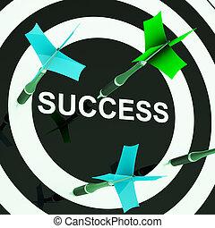sucesso, ligado, dartboard, mostra, mal sucedido, metas