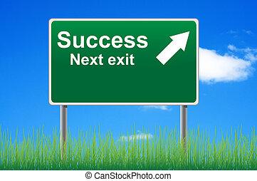 sucesso, logo, saída, sinal estrada, ligado, céu, experiência.