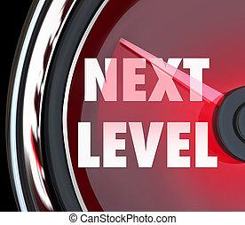 sucesso, nível, cima, logo, levantar, velocímetro, alcance