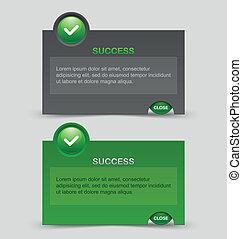 sucesso, notificação, janelas