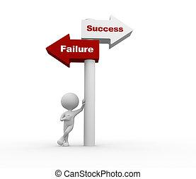 sucesso, ou, failure.