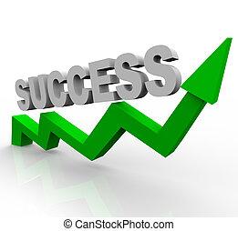 sucesso, palavra, ligado, verde, crescimento, seta
