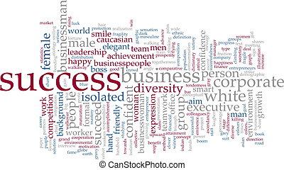 sucesso, palavra, nuvem
