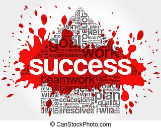 sucesso, palavra, seta, nuvem