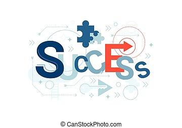 sucesso, palavra, tipografia