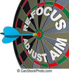 sucesso, refocus, dartboard, objetivo, ajustar, melhorar