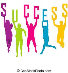 sucesso, representação, com, colorido, pessoas, silhuetas