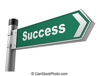 sucesso, sinal, estrada, ilustração, 3d