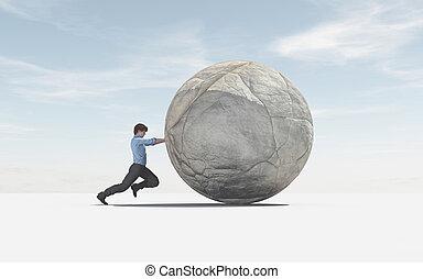 sucesso, top., grande, concept., empurrar, esfera, homem