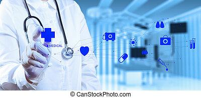 sucesso, trabalhando, doutor, médico, operando, esperto, sala