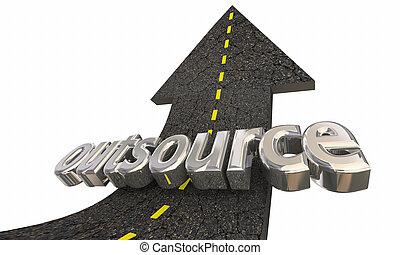 sucesso, trabalho, freelance, trabalhador, exterior, ilustração, cima, outsource, seta, estrada, 3d