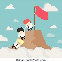 sucesso, vindima, concept., filter., cima, ajudando, outro, caminhada, homem negócios, cada, mountain.