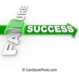 sucesso, vs, fracasso, -, superar, um, obstáculo, para,...