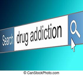 sucht, concept., droge