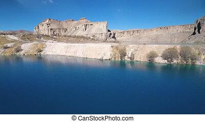 suchy, błękitny, ziemia, jałowy, lake., zewnątrz