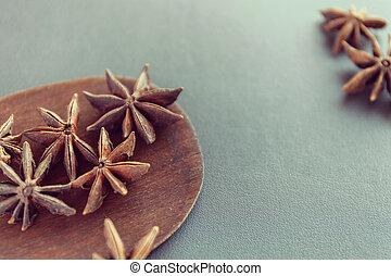 suchy, brązowy, gwiazda, drewniany, anyż, eating., jadło,...