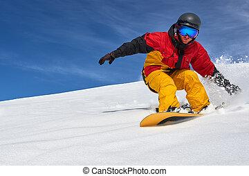 suchy, freeride, snowboarder, slope., śnieg, mocny, jeżdżenie