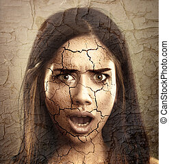suchy, kobieta, concept., twarz, skóra, pęknięty, troska
