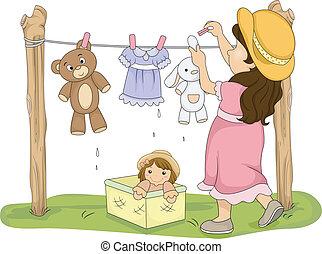 suchy, mały, jej, wisząc, ilustracja, faszerowane zabawki, dziewczyna