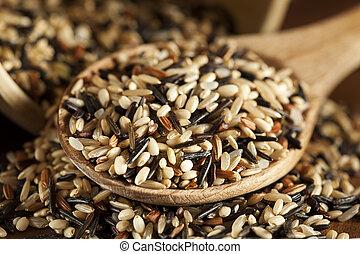 suchy, organiczny, multi, ryż, ziarno