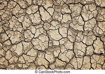 suchy, podczas, pęknięty, susza, gruntowy