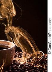 suchy, złoty, kawa, dym